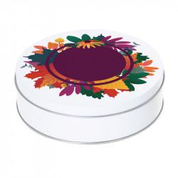 Boîte ronde métallique Caméléon E-01 - Illustration Flore automnale