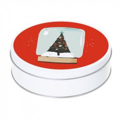 Boîte ronde métallique Caméléon G-36 - Illustration Sapin de Noël