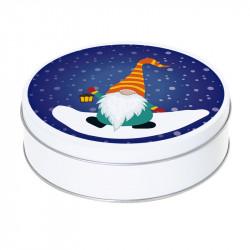 Boîte ronde métallique Caméléon G-37 - Lutin de Noël sous la neige