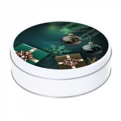 Boîte ronde métallique Caméléon G-39 - Sapin, boules, cadeaux de Noël
