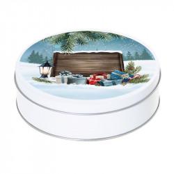 Boîte ronde métallique Caméléon G-43 - Ambiance Noël sous la neige
