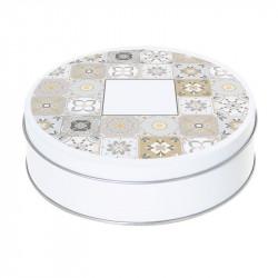 Boîte ronde métallique Caméléon H-15 - Arabesque argent et or