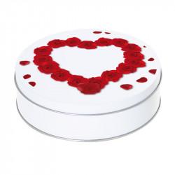 Boîte ronde métallique Caméléon I-67 - Cœur constitué de roses rouges
