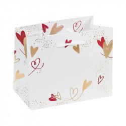 Sac cabas Blanc motif cœurs or - Packagings Luxe pour la St-Valentin