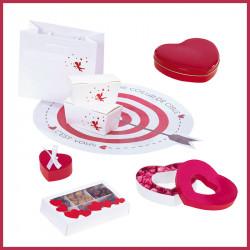 """Ensemble Packagings rouges & blancs pour la St-Valentin - Kit """"Idylle"""""""