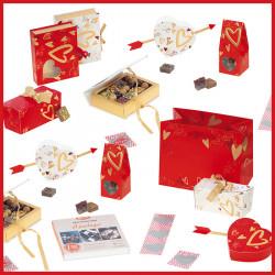 Ensemble de Packagings/Jeu pour une Saint-Valentin Rouge, Blanc et Or
