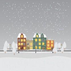 Packaging personnalisé Hiver : Village sous la Neige - Carte Caméléon