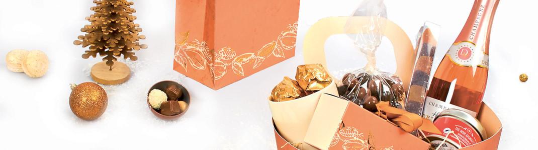 Packaging pour viticulteur/chocolatier - Coffrets pour Paniers Garnis