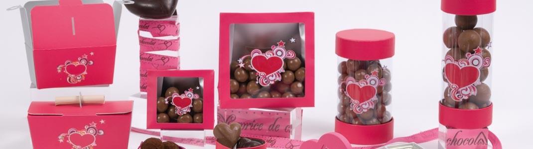 """Achat packaging de St Valentin """"Lov'Kif"""" pour chocolatier à prix cassé"""