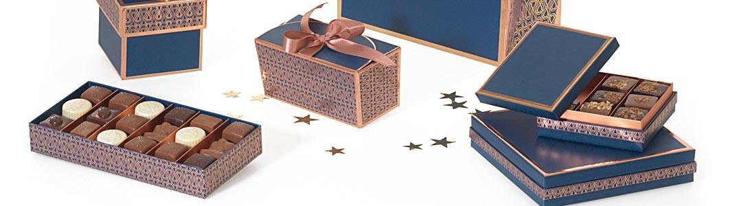 Packaging bleu et or rosé pour chocolatiers - Collection Madison