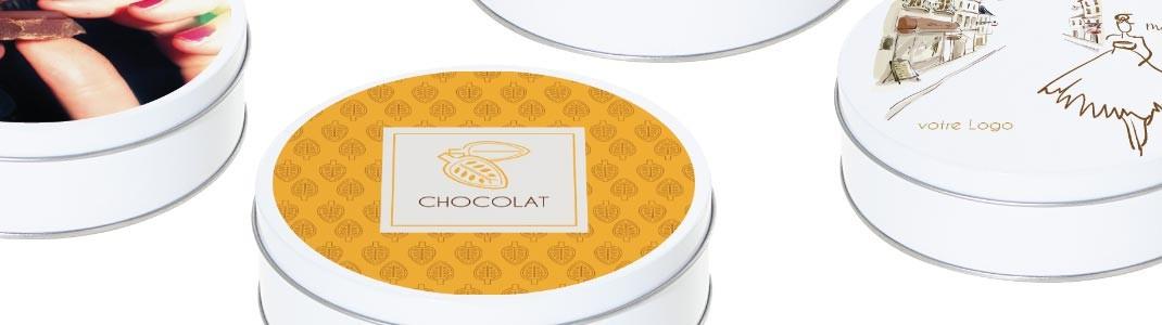 Boites Caméléon Gamme Ronde Métallique - Thème Boutiques et Chocolat
