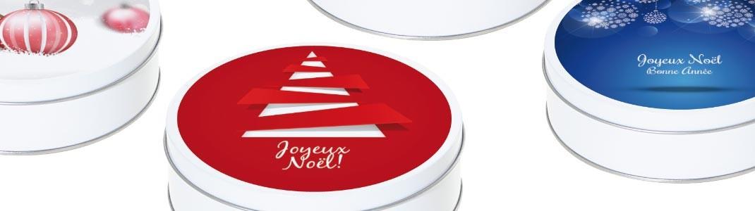 Boites Caméléon Ronde Métallique sur le Thème de Noël