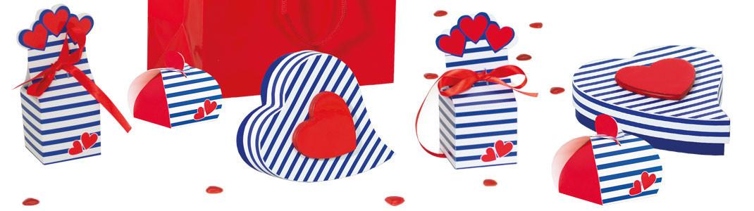 "Collection ""Lovely Navy"" - Packaging marinière blanc/bleu - Cœur rouge"