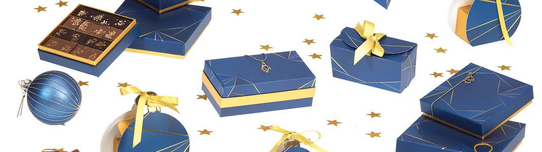 """Collection de Packaging """"Géométrika"""" - Gamme moderne - Bleu et or"""