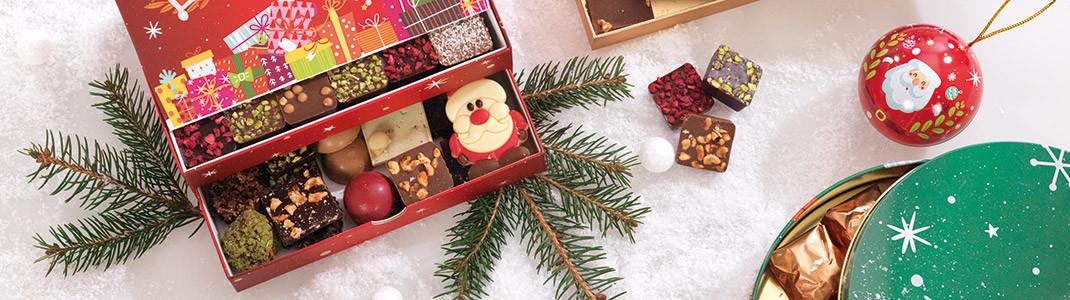 Collection de Packagings de luxe pour Noël - Vert rouge et or