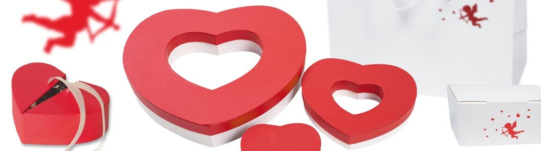 Ligne Idylle - Packagings traditionnels rouge et blanc St-Valentin !